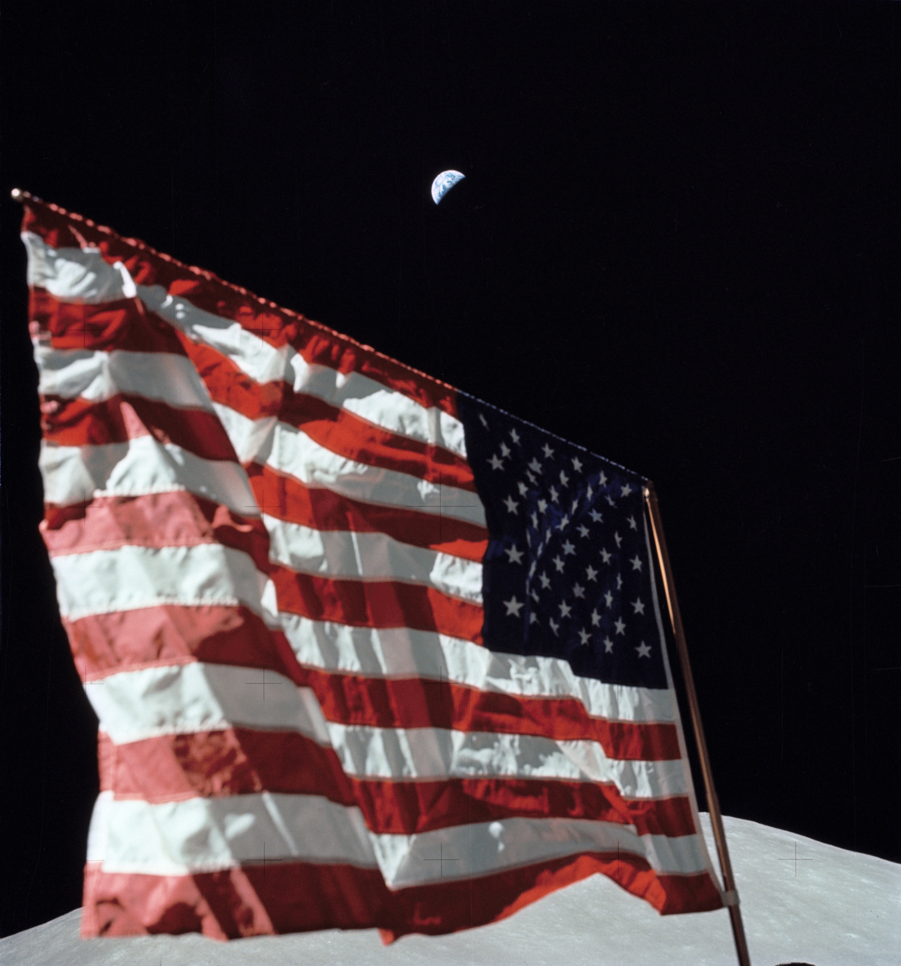 A close-up view of the U.S. flag deployed on the moon at the Taurus-Littrow landing site by the crewmen of the Apollo 17