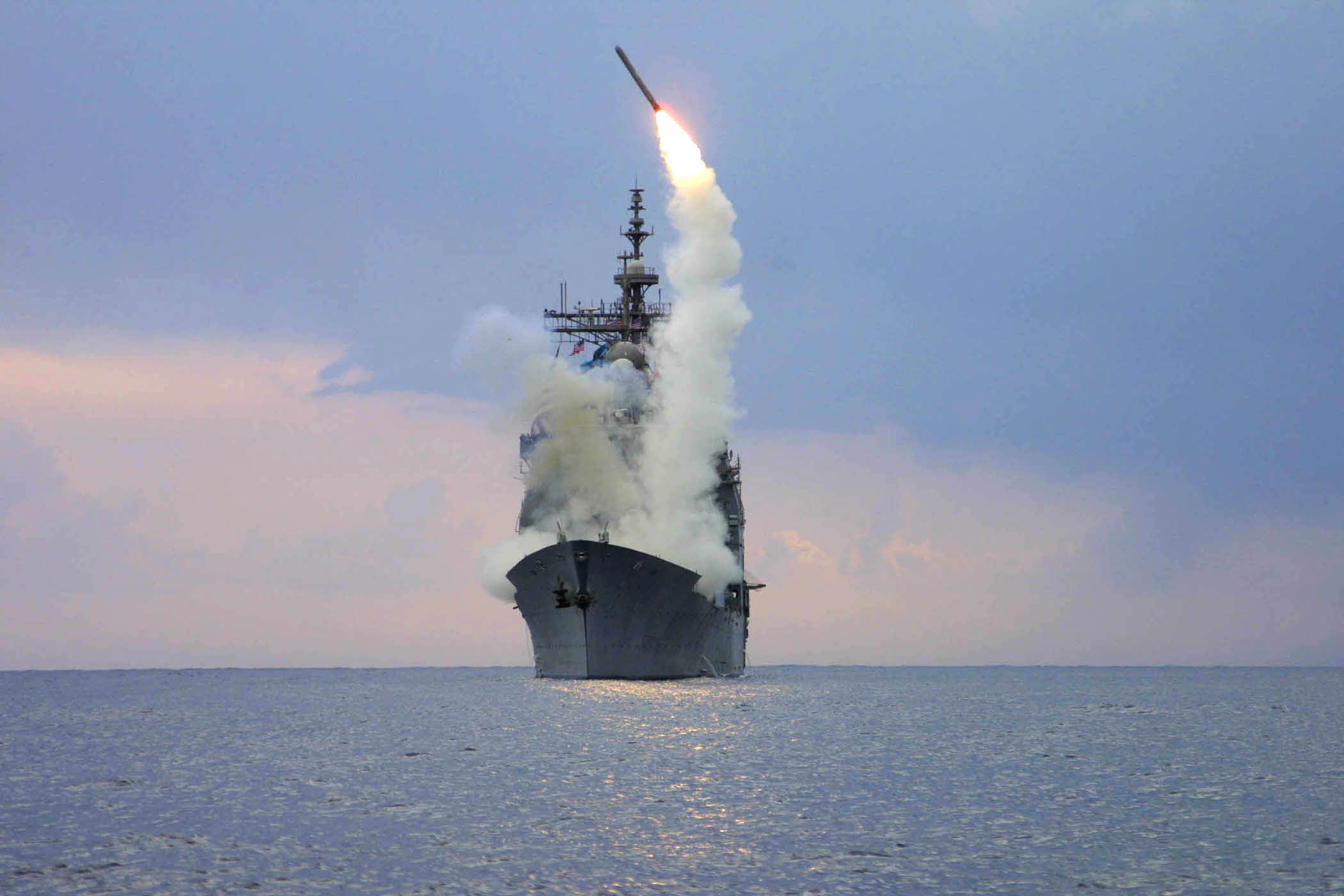 At sea aboard USS Cape St. George (CG 71) Mar. 23, 2003 -- A Tomahawk Land Attack Missile (TLAM) is launched from the guided missile cruiser USS Cape St. George. Cape St. George is operating in the eastern Med